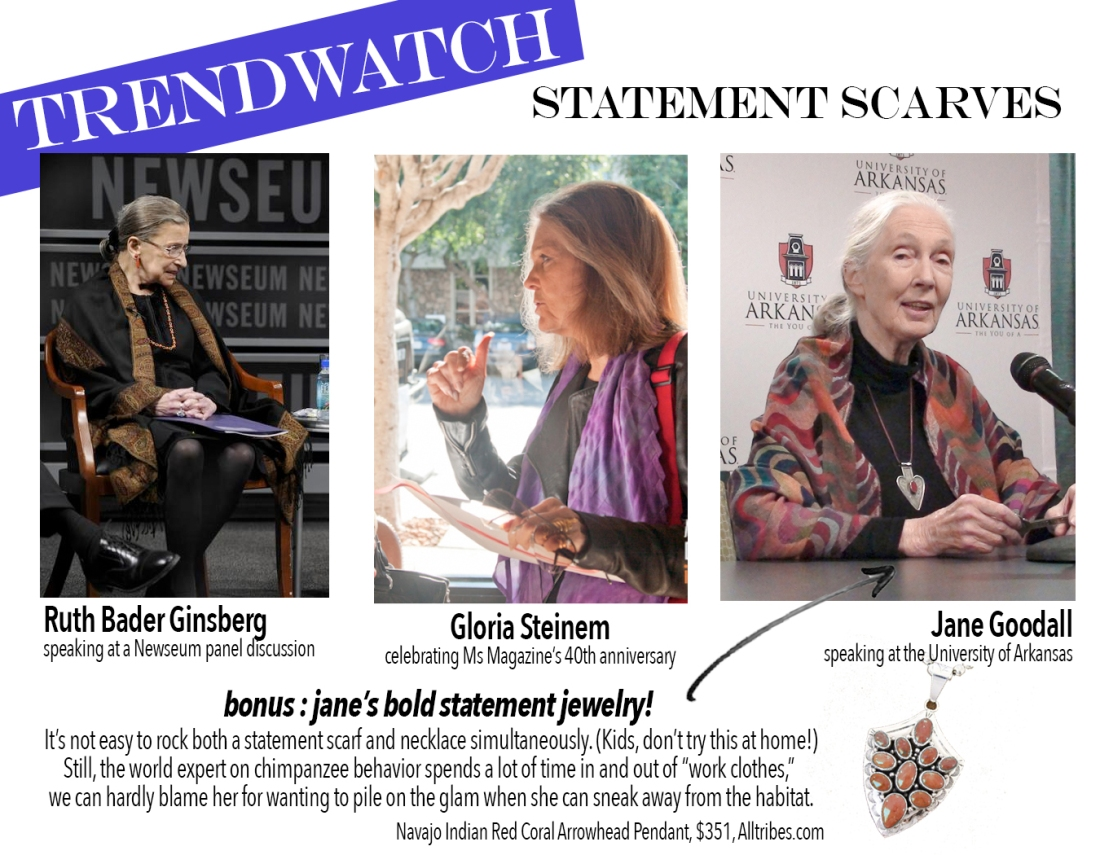 trendwatch: statement scarves // ruth, gloria, and jane